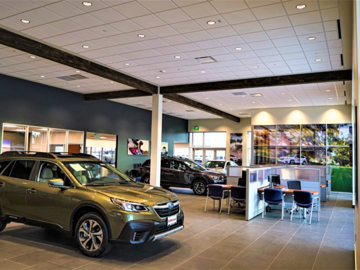 led lighting high output troffers in car dealership
